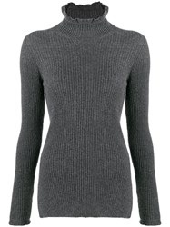 Pringle Of Scotland Rollneck Cashmere Sweater Grey
