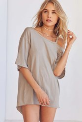 Silence And Noise Daphne Cut In Scoop Neck Tee Grey