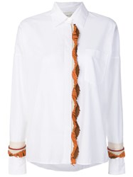 Antonia Zander Fringed Leather Trim Shirt White