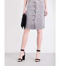 Maje Jemmie High Rise Denim Skirt Gris