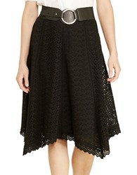 Lauren Ralph Lauren Plus Eyelet Cotton Skirt Black