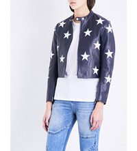 Sandro Star Motif Leather Jacket Navy Blue