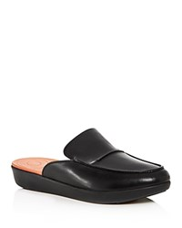Fitflop Serene Leather Smoking Slipper Platform Mules Black