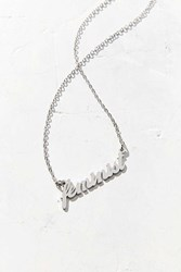 Urban Outfitters Feminist Nameplate Necklace Silver