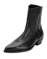 Valentino Leather Cowboy Boot Black