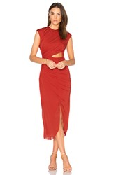 Halston Ruched Hi Low Dress Red
