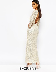 Club L Patterned Sequin Maxi Dress With Open Back Creamgold