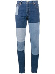 Re Done Patchwork Slim Fit Jeans Blue