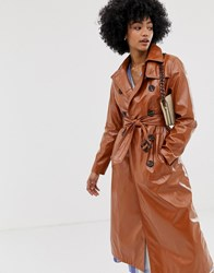 Warehouse Patent Trench Coat In Tan