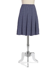 Jones New York Polka Dot Pleat Skirt Navy Multi