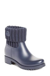 Moncler Women's 'Ginette' Knit Cuff Leather Rain Boot Navy
