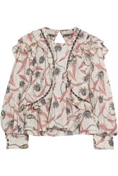 Isabel Marant Uster Studded Lace Trimmed Printed Cotton Blouse Ecru