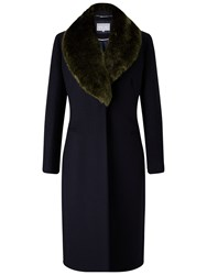 Grace And Oliver Nicole Wool Fur Trim Coat Navy