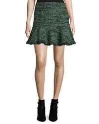 Rebecca Taylor Textured Tweed Ruffle Mini Skirt Green Red Pattern