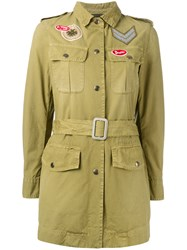 Mr And Mrs Italy Belted Military Style Jacket Women Cotton 40 Green