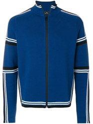 Paul Smith Ps By Funnel Neck Zip Front Cardigan Blue