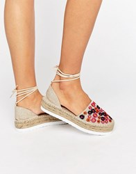 Asos Jazzy Embroidered Tie Leg Espadrilles Natural Floral Beige