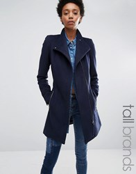 Vero Moda Tall Belted Funnel Neck Wool Coat Navy