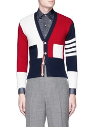 Thom Browne Colourblock Stripe Sleeve Cashmere Cardigan Multi Colour