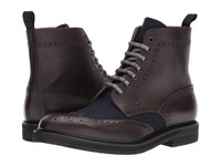 Eleventy Leather Flannel Wingtip Boot Brown Navy Men's Boots