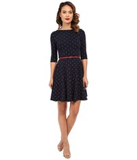 Unique Vintage Good Ship Knit Sleeved Fit Flare Navy Anchor Print Women's Dress