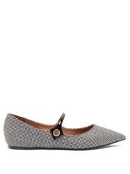 Tabitha Simmons Hermione Houndstooth Mary Jane Flats Black White