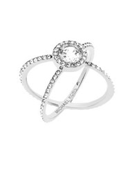Michael Kors Modern Brilliance Crystal Double Band Ring Silvertone