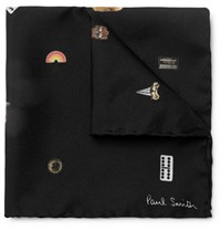 Paul Smith Printed Silk Twill Pocket Square Black