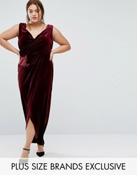 Little Mistress Plus Velvet Plunge Wrap Front Maxi Dress Maroon Red