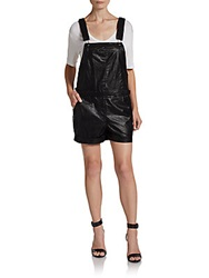 Saks Fifth Avenue Red Faux Leather Overall Shorts Black