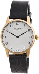 Pilgrim Gold Plated Black Leather Strap Watch White