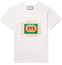 Gucci Distressed Glittered Cotton Jersey T Shirt Off White