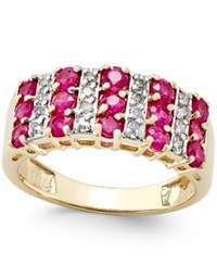 Macy's Ruby 1 1 2 Ct. T.W. And Diamond 1 5 Ct. T.W. Ring In 14K Gold Yellow Gold