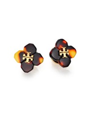 Tory Burch Babylon Stud Earrings Tortoise Black