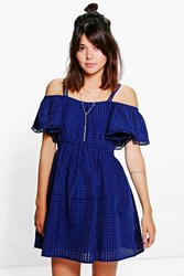 Boohoo Woven Mesh Frill Sleeve Skater Dress Navy