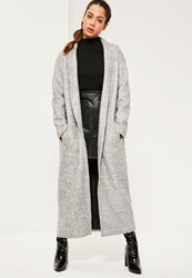 Missguided Grey Shawl Textured Faux Wool Longline Coat