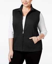 Karen Scott Plus Size Quilted Vest Only At Macy's Deep Black
