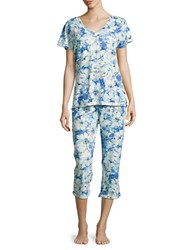 Miss Elaine Floral Pajama Set White