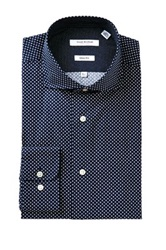 Isaac Mizrahi Navy And White Pin Dot Long Sleeve Slim Fit Dress Shirt Blue