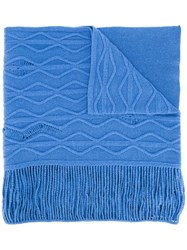 Stella Mccartney Cable Knit Scarf Blue