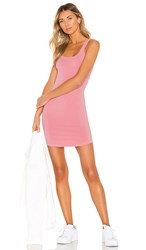 Monrow Square Neck Tank Dress In Pink. Peachy Pink