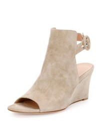Gianvito Rossi Open Toe Slingback Wedge Bootie Beige Cachmere