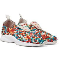 Nike Air Woven Premium Faux Suede Trimmed Woven Sneakers Red