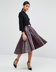 Asos Skater Skirt In Leather Look Plum Purple