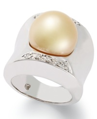 Macy's Sterling Silver Ring Cultured Golden South Sea Pearl 13Mm And Diamond 1 8 Ct. T.W. Ring