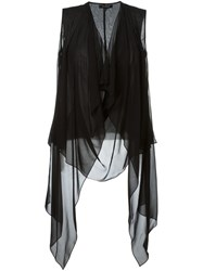 Unconditional Draped Sheer Top Black
