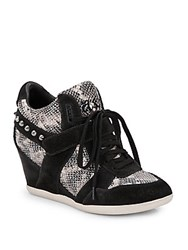 Ash Bisou Studded Snakeskin And Suede Wedge Sneakers Black