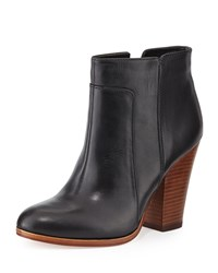 Pour La Victoire Rocker Casual Leather Bootie Black