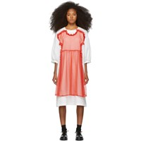 Comme Des Garcons Girl White And Red Cotton Georgette Dress