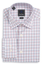 David Donahue Men's Big And Tall Trim Fit Check Dress Shirt Navy Merlot